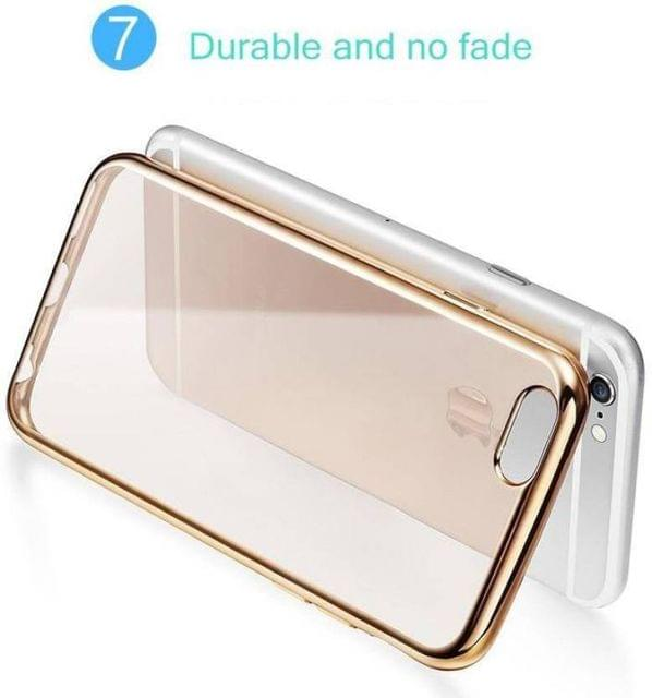 Apple iPhone 6 Plus Silicone Transparent Back Cover with Golden Border