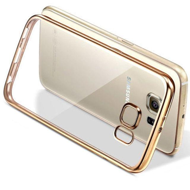 Samsung A7-2016 Transparent Silicon Back Cover Side Golden Border