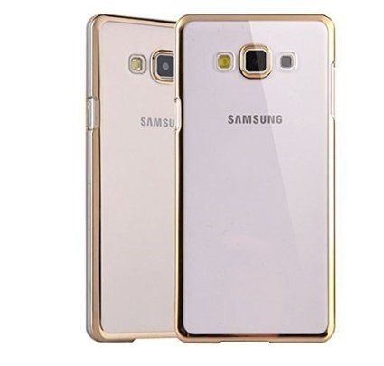 Samsung A8 Silicon Transparent Back Cover Gold Golden