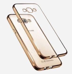 Samsung On7 Pro  Silicon Transparent Back Cover Gold Golden