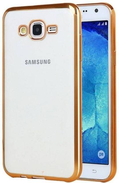 Samsung J3  Silicon Transparent Back Cover Gold Golden
