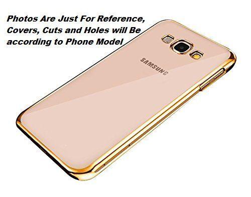 Samsung J1 Ace Pro  Transparent Silicon Back Cover Side Golden Border