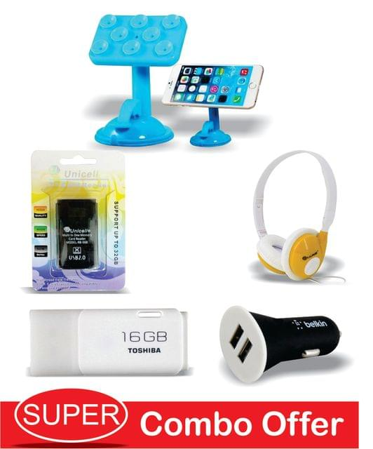 16GB Toshiba pendrive+iKare Foldable Hi Fi Stereo Headphone +Mobile Car Holder+Belkin Car Charger+ Unicell card Reader