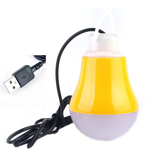 5V 5W Mobile LED Bulb Lamp Light with USB Interface Hook Cable Line Flexible Plastic for Power Bank Outdoor Travel Camping-Yellow