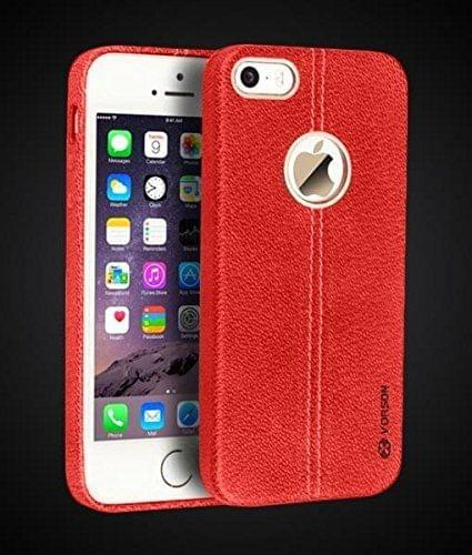 Apple iPhone 5/5S/SE Double Stitch Leather Shell with Metallic Logo Display Back Cover Case From Vorson -Red