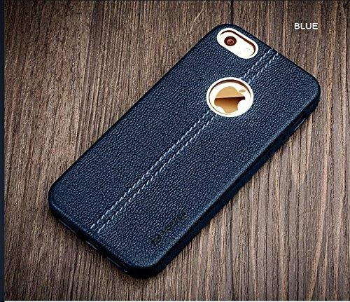 Apple iPhone 5/5S/SE Double Stitch Leather Shell with Metallic Logo Display Back Cover Case From Vorson -Blue