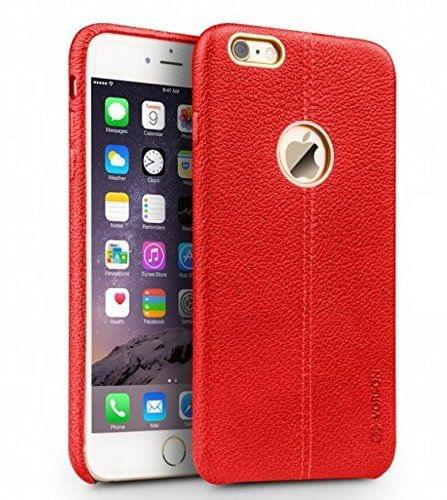 Apple iPhone 6 and 6s Vorson Leather Shell with Metallic Logo Display Back Cover-Red