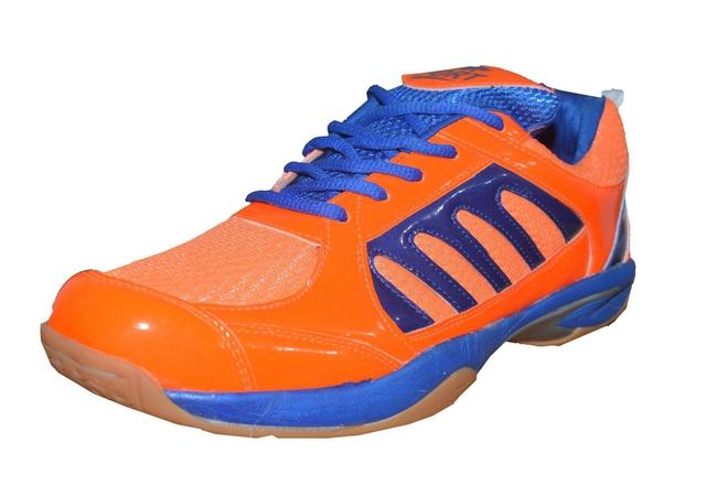 Port Men's Elegance Orange PU Badminton Shoes