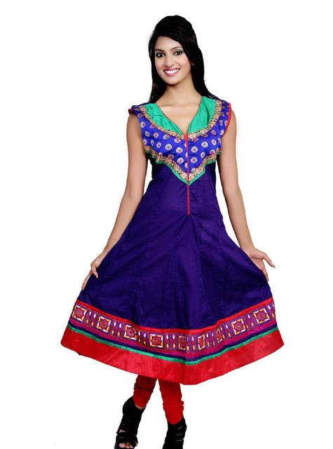 Port Blue Casual Embroidered Women's Kurti