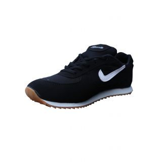 Port Men's Black Mesh Sports Shoes