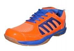 Port Men's Jaction Orange Blue PU Badminton Shoes