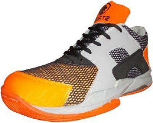 Port Men's Crooz Orange Black PU Badminton Shoes