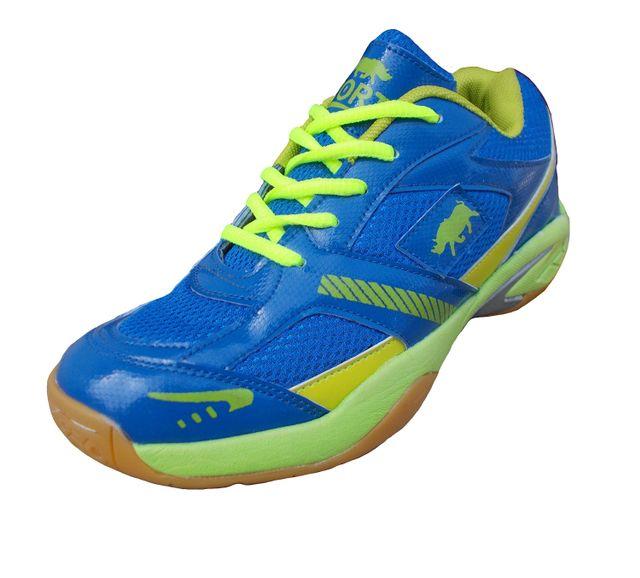 Port Men's Flacon Blue C-Green PU Badminton Shoes
