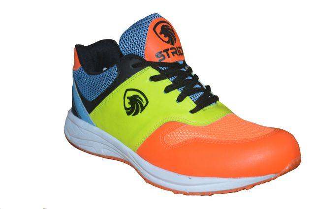 Port Men's Swagger Stride Orange Multi PU Badminton shoes