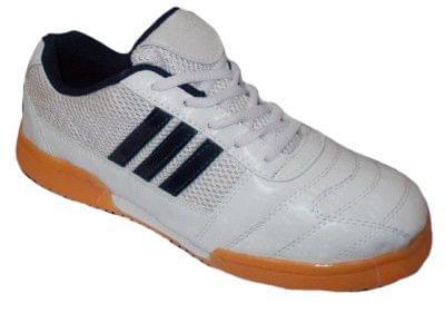 Port Men's Flycatcher Silver Black PU Badminton Shoes