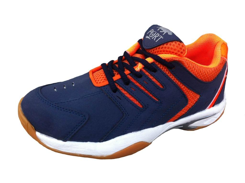 Port Men's Bittern Orange Black PU Badminton Shoes