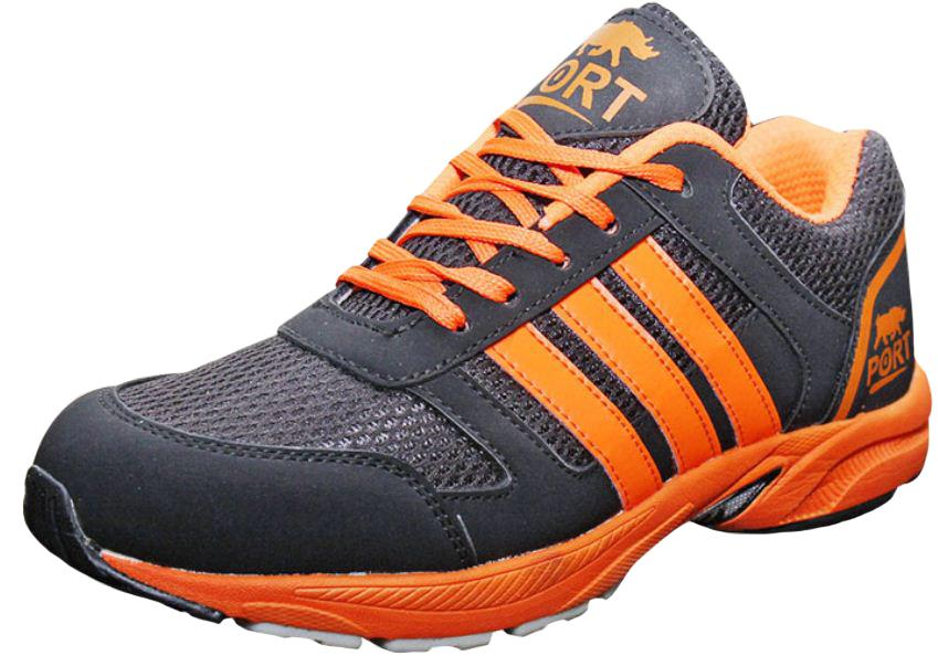 Port Men's Nova Black Mesh Runing Shoes