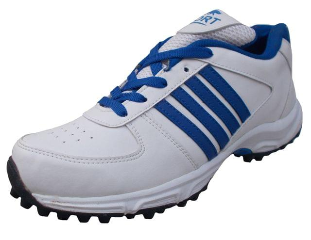Port Man's Mexican White Blue PU Cricket Shoes