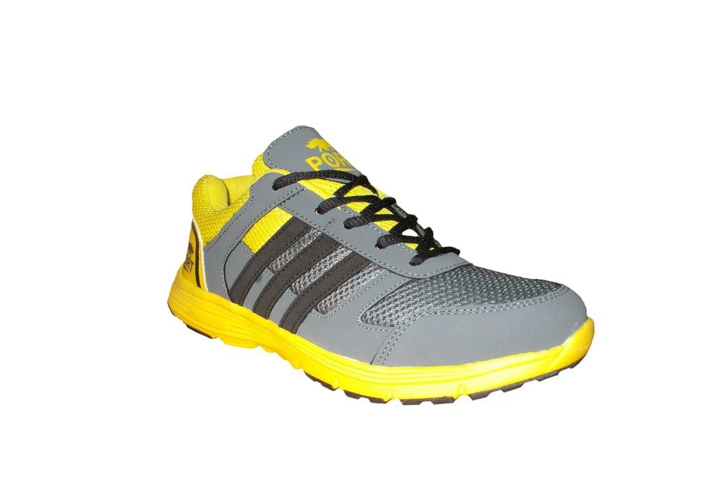 Port Men's Grey Hawk Yellow Running Shoes