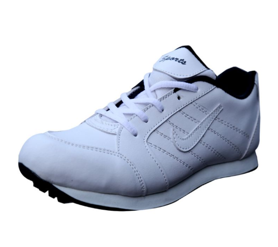 Port Men's White  FireFly PU Cricket Shoes
