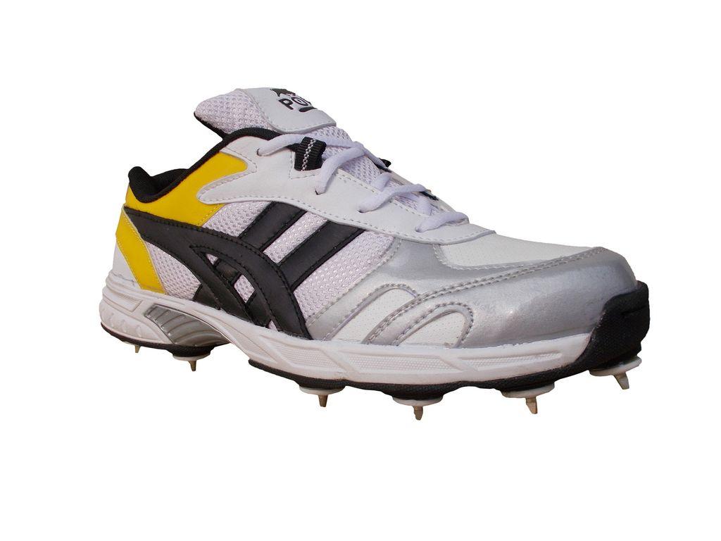 Port Mens Power Spikes White  Cricket Sports Shoe