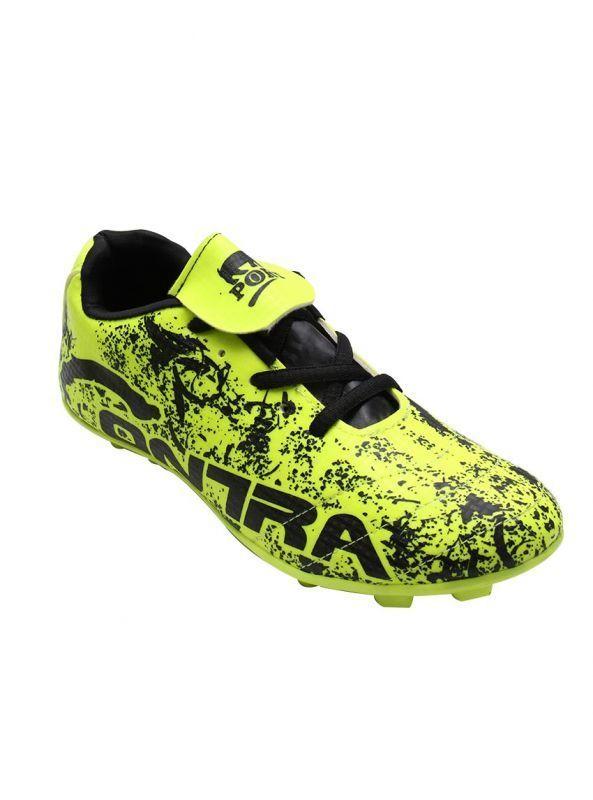 Port Men's Puff Contra Black C-Green PU Football Shoes