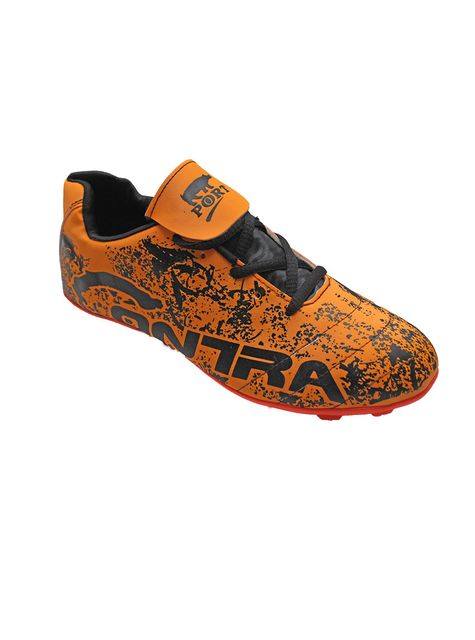 Port Men's Cape-contra Orange PU Football Shoes