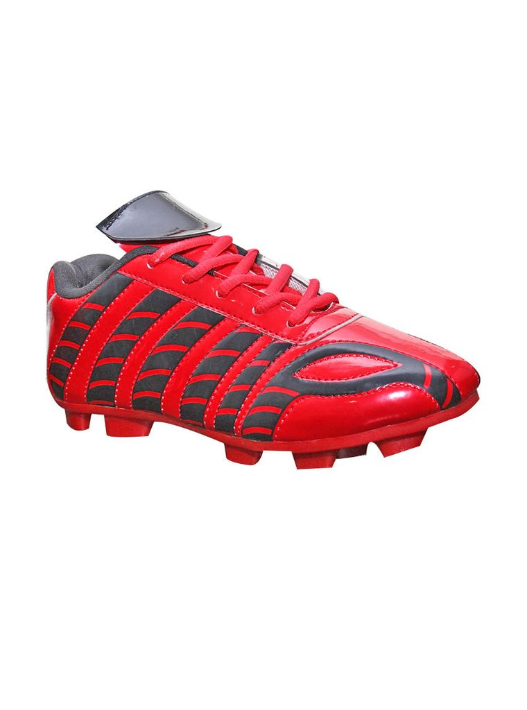 Port Men's Dragonheart Red Black PU Football Shoes