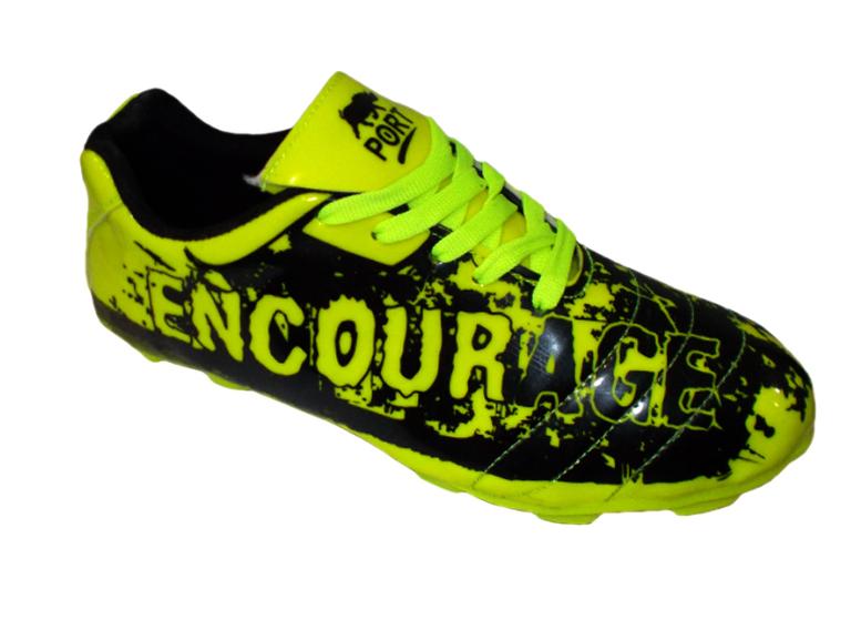 Port Men's Drake- Encourage Black C-Green PU Football Shoes