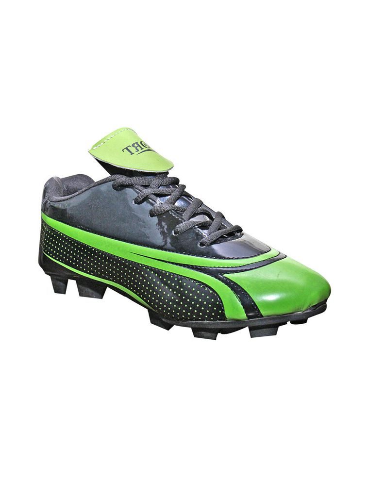 Port Men's Mamba Black Green PU Football Shoes