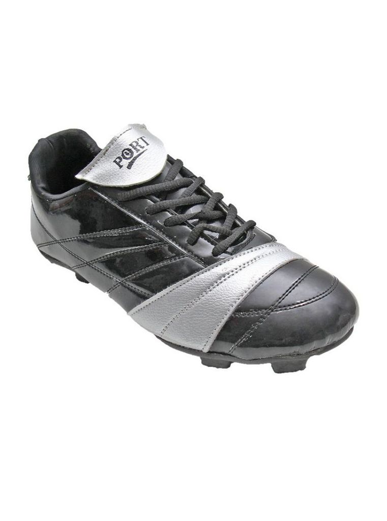 Port Men's Porcupine Silver Black PU Football Shoes