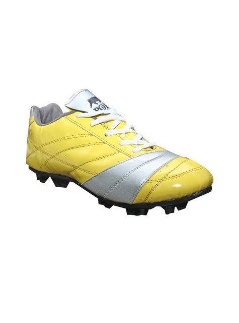 Port Men's Tostyn Yellow Silver PU Football Shoes
