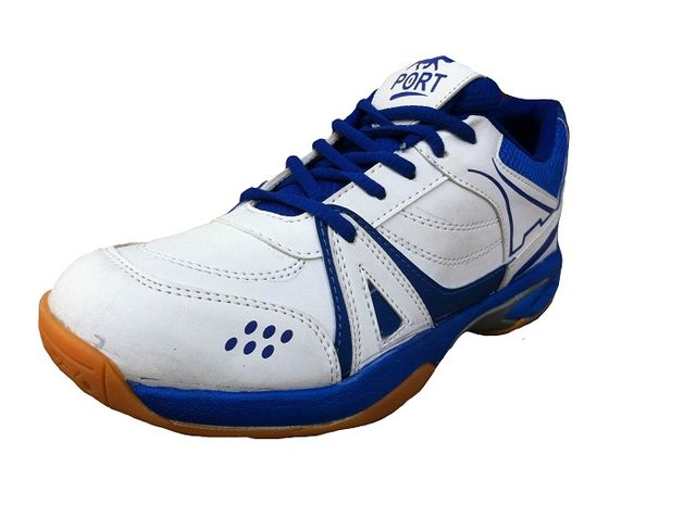 Port Men's Activa White PU Badminton Shoes