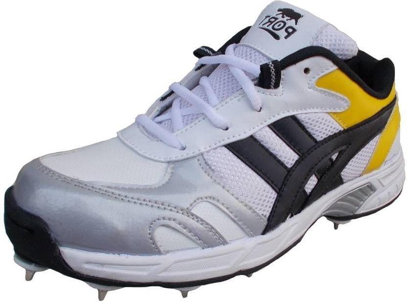 Port D77 White Full Spikes Cricket Sports Shoe For Men