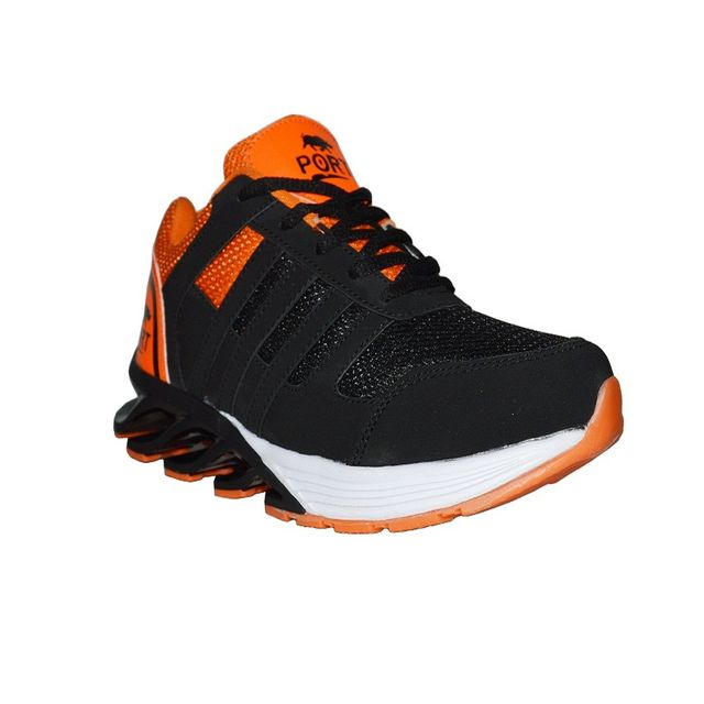 Port Blade Black Orange Ankle Running Sports Shoe For Men
