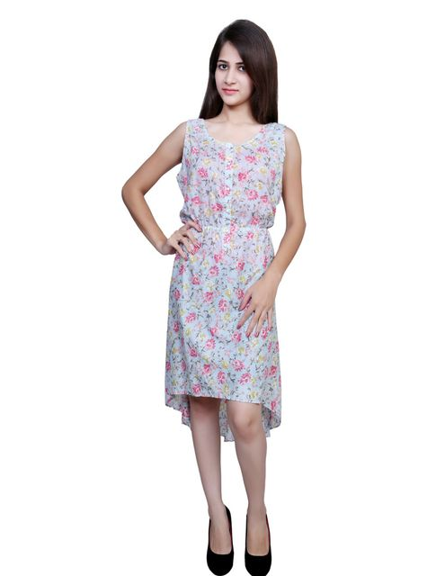 Port Pink Floral Party Wear Hi-Low Dress For Womens