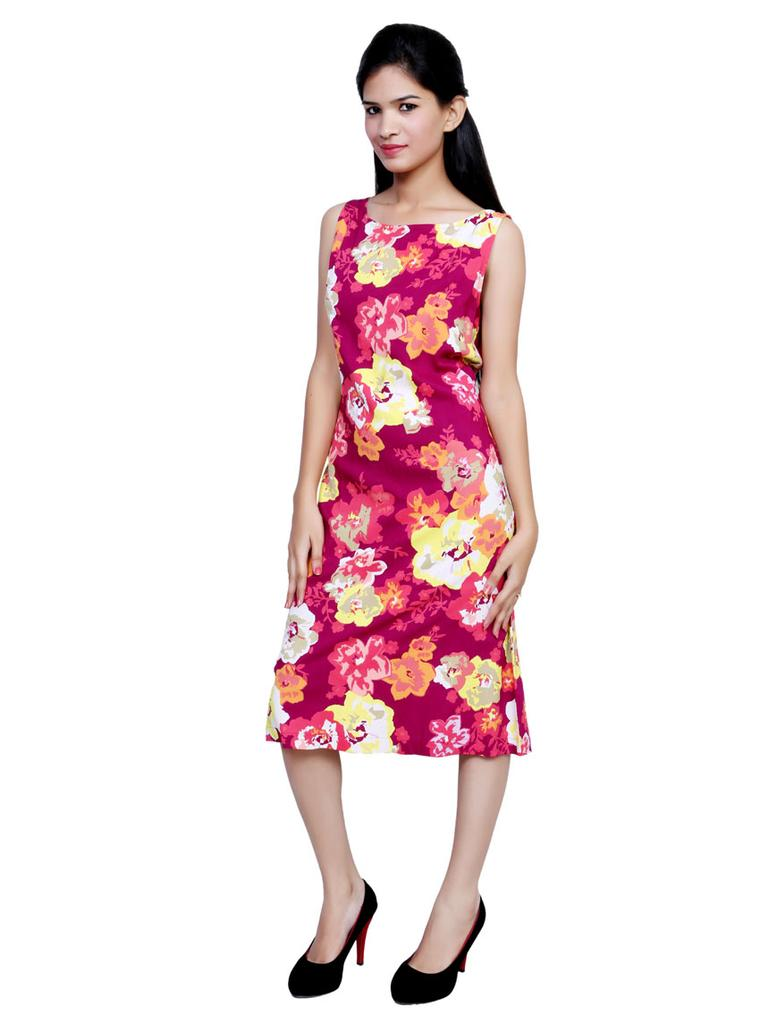 Port Floral Printed Mehroon Party Wear Dress For Women