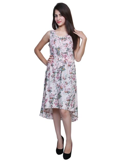 Port Floral Printed ceramic Party Wear Dress For Womens