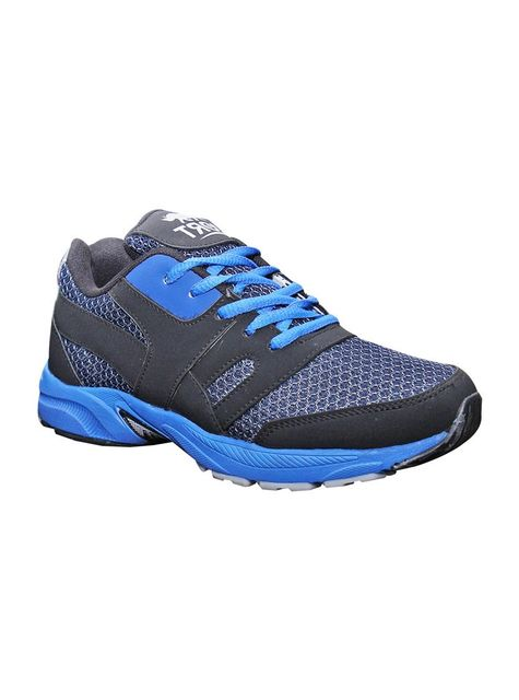 Port Men's Acker Bilk Black Blue PU Running Shoes