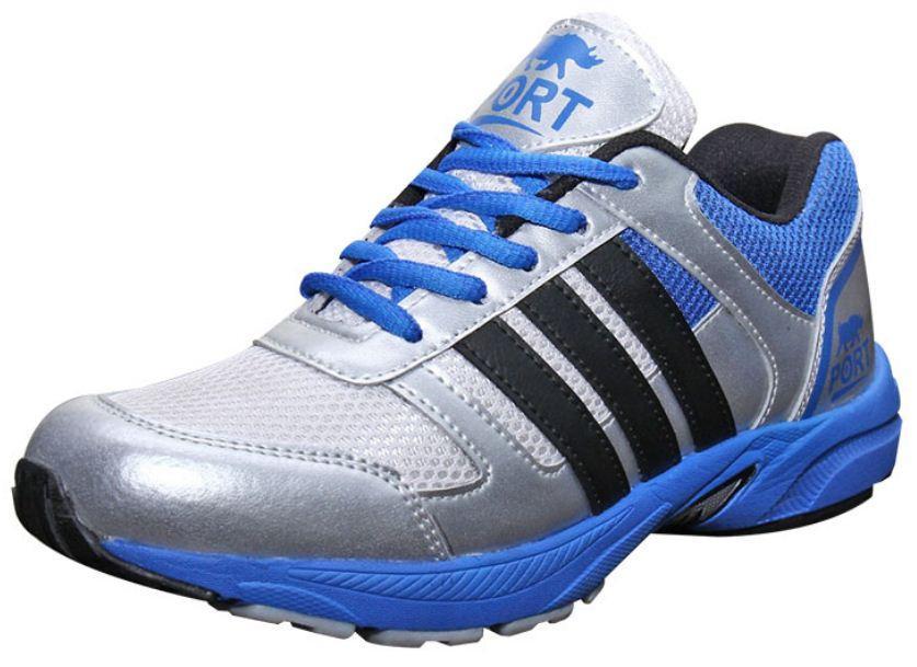 Port Men's Crex Silver Blue PU Running Shoes