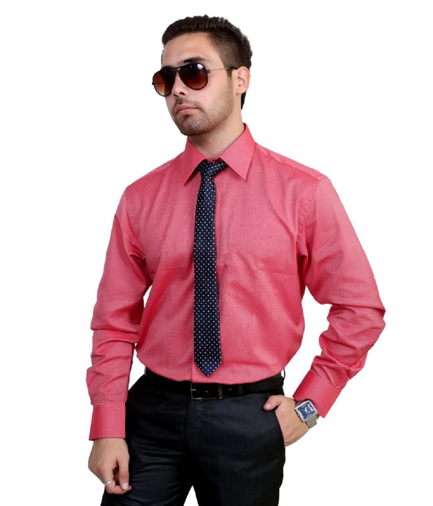 Zodiac  Men's Solid Formal Red Shirt