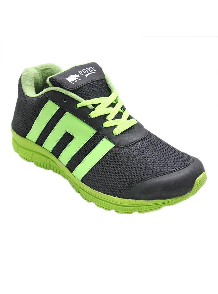Port Men's Gypsy Black Green PU Running Shoes