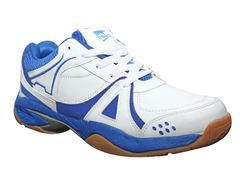 Port Unisex Activa PU Badminton Shoes(White And Blue)