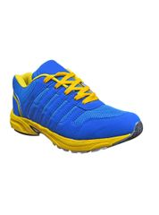Port Bullet Blue Yellow PU Running Shoes For Women's