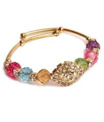 Port Exclusive Gold Plated Multicolored Crystal Stone Bracelet