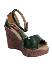 Port Designer Green Wedge Heels For Women's