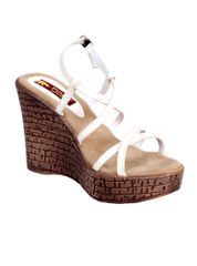 Port Designer White Wedge Heels For Women's