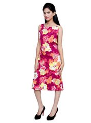 Port Designer Maroon FLoral Party Wear Dress For Women's