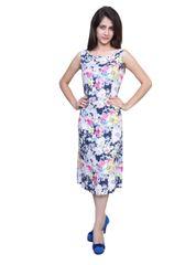 Port Designer Blue FLoral Party Wear Dress For Women's
