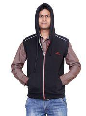 Neva Black Hooded Fleece Sweatshirts For Men's